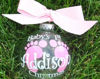 Baby's 1st Christmas footprint ornament boy or girl