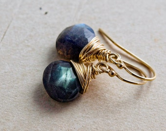 Labradorite Earrings, Dangle Earrings, Drop Earrings, 14K Gold Filled, Wire Wrapped, Gold Jewelry, Labradorite Jewelry, PoleStar