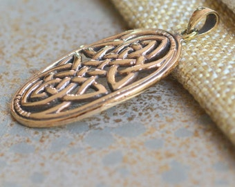 Celtic Knot Pendant Celtic Infinity Symbol Endless Knot Large Oval Traditional Bronze Pendant  - JH15-035