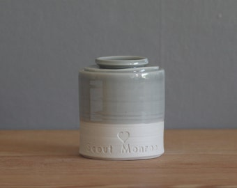 pet urn. lidded customized urn with name and stamp. urn for pet ashes or human cremains. grey glaze on porcelain clay