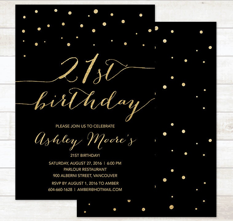gold 21st birthday invitation black gold twenty first