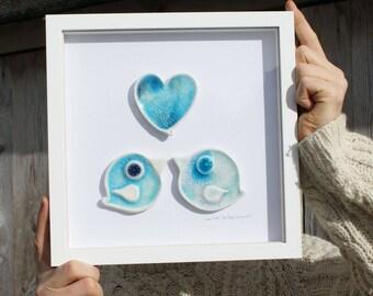 Framed Love BIRDS ceramics wedding gift by The Mood Designs