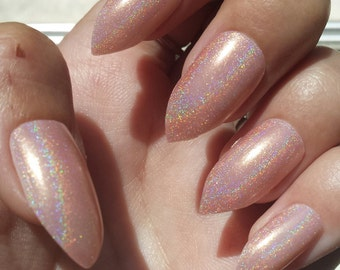 Holographic Pink - Press On Nails