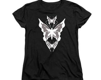 3 White Butterflies T-shirt, Feminine Clothing, Digital Design, Butterfly Black Clothing, Women's Fashion, Garden Insect, Wildlife Art,