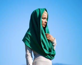 Infinity Scarf - Circle Scarf - Chunky - Circular Loop - Cowl Hood - Emerald Green  - Organic Cotton Jersey - Organic Clothing