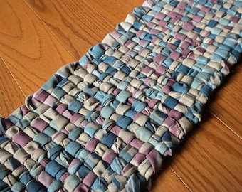 Handwoven Table Runner in Teal and Purple