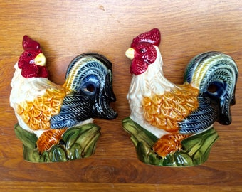 SALE Salt Pepper Shakers  Roosters Glazed Painted Vintage