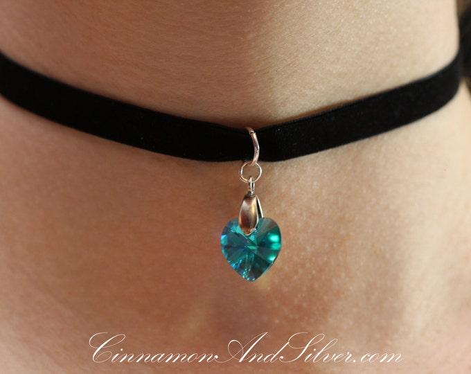 Black Velvet Ribbon and Swarovski Birthstone Crystal Heart Romantic Ribbon Choker Necklace, Simple Crystal Heart Ribbon Choker Necklace