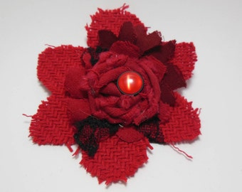 Red Poinsettia Christmas Brooch, Red poinsettia brooch, Holiday season, Christmas pin, red fabric flower, Handmade