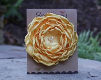 34 Colors Large Satin Flower Pin, Buttercup Satin Flower Pin