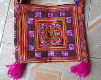 Sapa flower Hmong  cotton Embroidered Bag