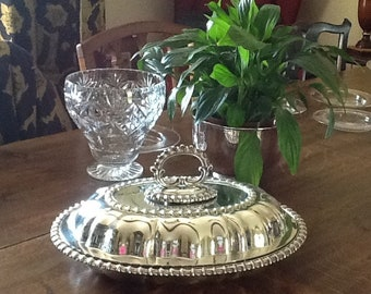 Oval entree dish, silver plated chafing dish, arts and crafts style tureen, Walker and Hall lidded dish