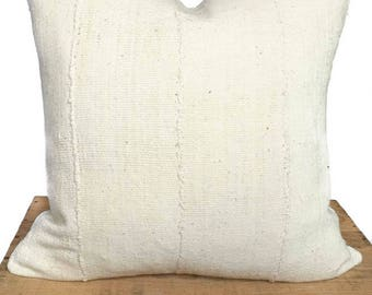Jane African Mud Cloth Pillow Cover Plain White 20x20 Inch