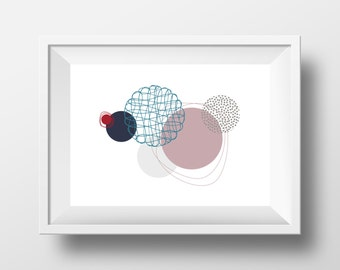 "Modern Art, Printable, Handmade, DIY, Poster, Graphic Wall Art, ""Floating Circles"", Instant Download, Wall Decor, Contemporary, Abstract"