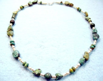 Natural Turquoise Chunky Gemstone Nugget Necklace, Turquoise Stone Beads, Mens or Womens Southwest Jewelry Design