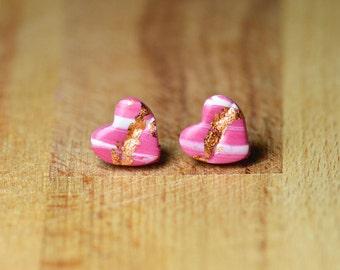 Heart Stud Earrings - Kintsugi Jewellery - Hypoallergenic Stud Earrings - Sensitive Ears - Polymer Clay Earrings - Nickel Free Earrings