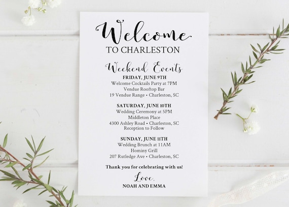 Wedding Weekend Itinerary Template. Thematic Wedding Itinerary ...
