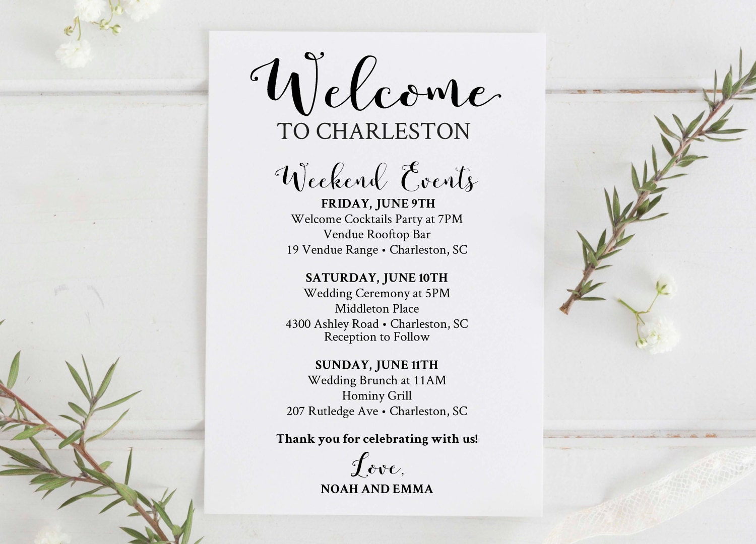 Welcome To Our Wedding Weekend Gift Bags: Wedding Welcome Bag Printable Editable Wedding Itinerary