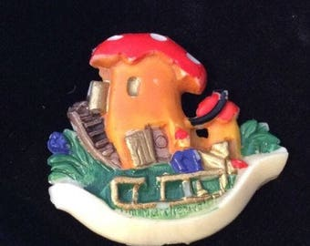 Whimsical, Colorful, Celluloid Toadstool Brooch