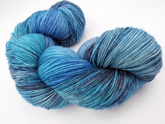 Hand Dyed Yarn Hand Dyed Sock Yarn Superwash Merino Nylon Blend 75/25 Fingering Weight Yarn - Tonal Blue Yarn - Adrift