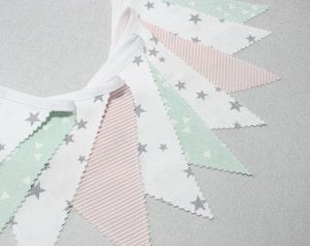 Mint & Gray, Pink, Fabric Bunting, Flag Banner, Baby Shower Decoration, Baby Bunting, Scandinavian Nursery, Minimalisme Home Decor