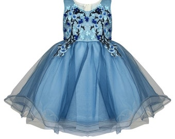Amelia Blue Flower Girls Dress