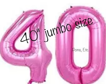 "40 pink 40"" number Balloon jumbo / foil balloon/ number balloons/ Pink / 40 inch"