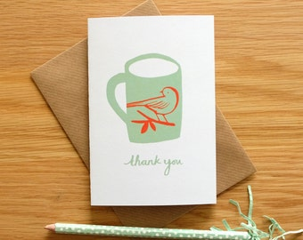 Illustrated Thank You Card, with Bird and Mug