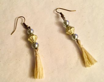 Grey and gold earrings for pierced ears