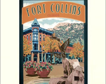 Fort Collins Matted Giclée Art Print: Colorado Series, The Bungalow Craft by Julie Leidel, WPA-Style Art, Arts & Crafts Movement