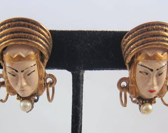 Vintage 1950's Unsigned SELRO/SELINI Clip On Asian Princess or Thai Girl Earrings/Pearls