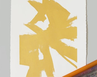 Large Abstract Sketch #1 Print- Gold