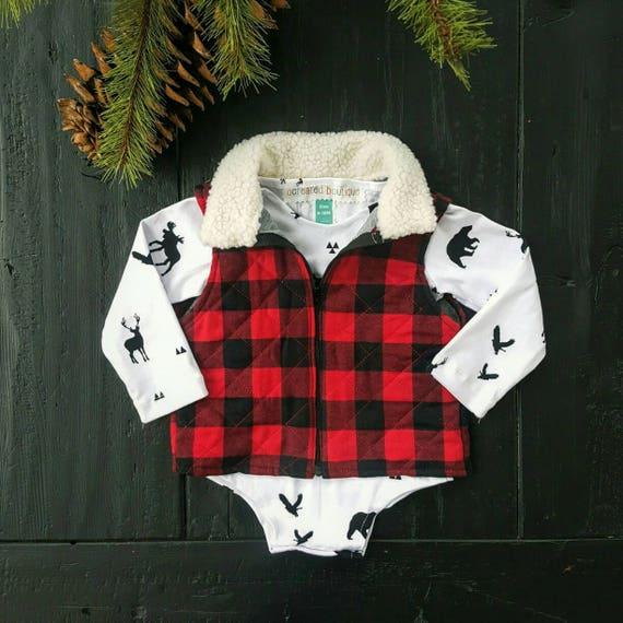 Red Buffalo Plaid Quilted Vest, Baby Boy Vest, Baby Girl Vest, Lumberjack, Winter Vest, Gingham Plaid, Toddler Vest