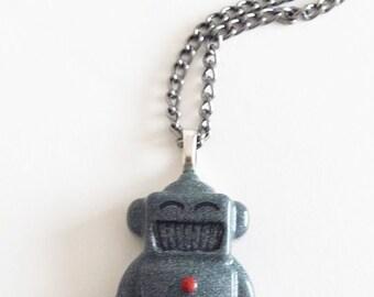 Metallic Silver/Gold Resin Robot Pendant Necklace on Dark Silver Chain