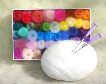 Felted Soap Kit, Mini Palette of Rainbow Wool With Pre Felted Soap, DIY Ready to Needle Felt Soap Bar, Christmas Gift