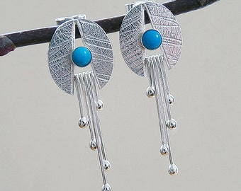 Sterling silver stud earrings. Silver earrings with turquoise. Gemstone earrings. Silver jewellery. Handmade. MADE TO ORDER.