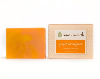 Grapefruit Bergamot Handmade Soap Bar, Grapefruit Soap, Natural Soap, Handmade Soap, Vegan Soap, Eco-Friendly, Essential Oils, Soap Gift