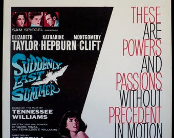 "SUDDENLY, LAST SUMMER ~ Striking U.S. Window Card Movie Poster ~ Very Fine 14""x22"" Orig. Rolled Movie Poster ~ Lovely Elizabeth Taylor Art!"