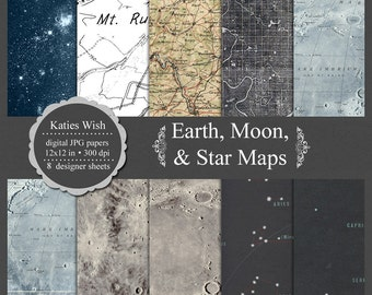 Earth, moon, and star map background digital papers for commercial use, scrapbooking, invites, prints