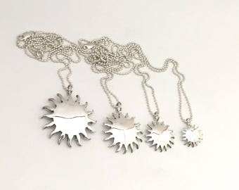 Sun Pendant or Earrings Made from Silver Vintage American Coin Dime Quarter Half Dollar