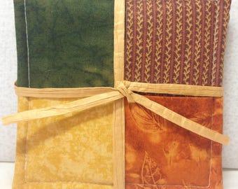 Set of 4 - Folded Fabric Coasters/Mug Rugs/Wine/Stemware - Fall Colors