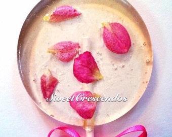 Rose Tea Lollipops- Hard Candy Lollipops-  Birthday Lollipops- Bridal Shower Favors- Wedding Lollipops- Hard Candy