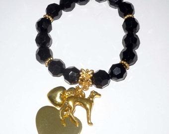Black and Goldtone Stretch Bracelet w GP Greyhound Dog and Hearts Charms