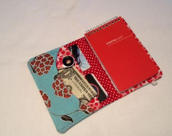 Memo Book Wallet, Blue Floral and Red, Bifold Wallet