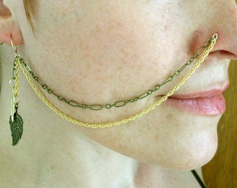 Gold-Brass-Bronze-Mix Chain-Nose Chain / Free US Shipping