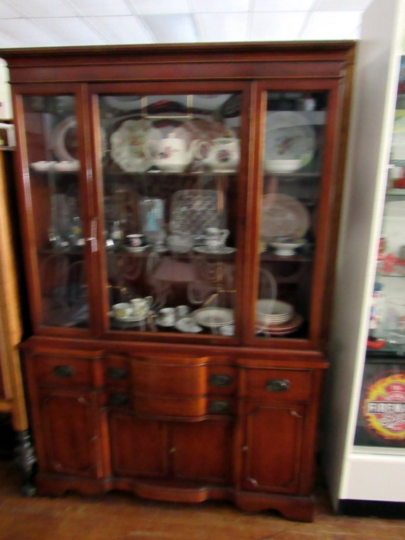 Mahogany China Cabinet rounded glass front Barker Brothers