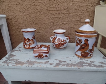 4 piece Vintage Mexican Pottery Collection Vases ~ Canister ~ Trinket Box