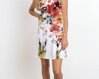 Watercolor Flower Print Sleeveless Dress, Butterfly Print, Flower Print, Romantic Dress, Casual Dress, Mini Dress, Allover Print Dress