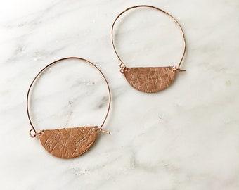 Copper Half Moon In Ear Hoops