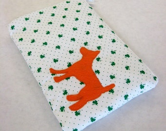 Green and White Shamrock Zipper Pouch with Appliqued Orange Wool Dog and White Satin Lining